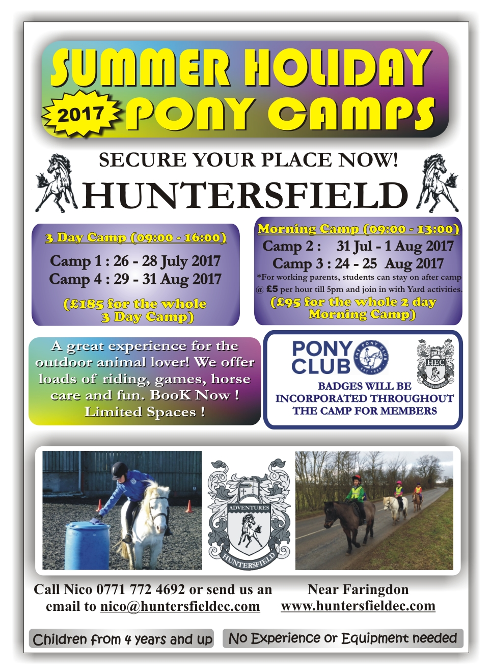 2017 summer holiday pony camps a