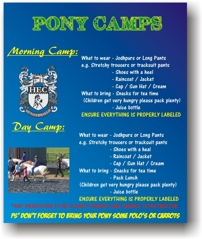 pony camp requirements general